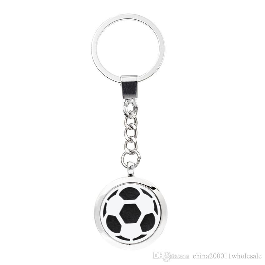 More Options Football Keychain Magnetic Aroma Essential Oil Diffuser Locket Key chain Perfume Locket Keyrings Pads