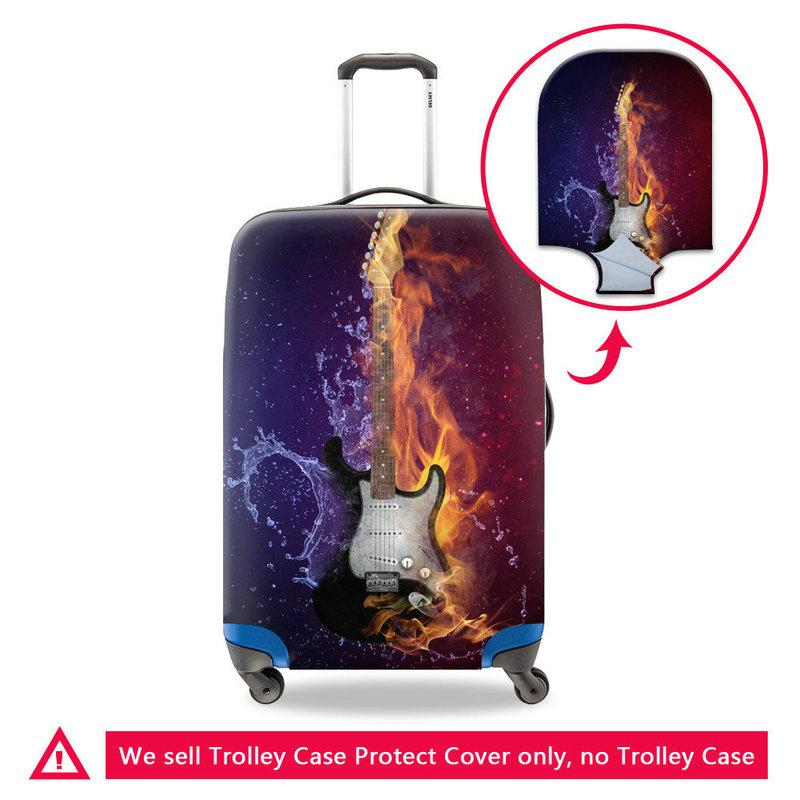Stretch Suitcase Covers For Children Violin Printing Women Travel Luggage Protective Cover For 18-30 Inch Case Dustproof Cover For Teenagers