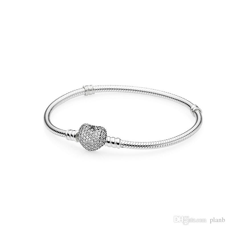 Authentische 925 Sterling Silber Herz Charms Armband mit Box Fit Pandora European Beads Schmuck Armreif Echtes Silber Armband für Frauen