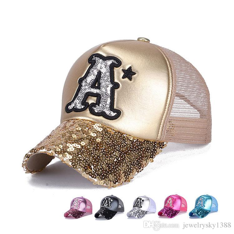 7edee917ce1 New Women PU Leather Sequins Letter A Baseball Cap Girls Outdoor Sun ...