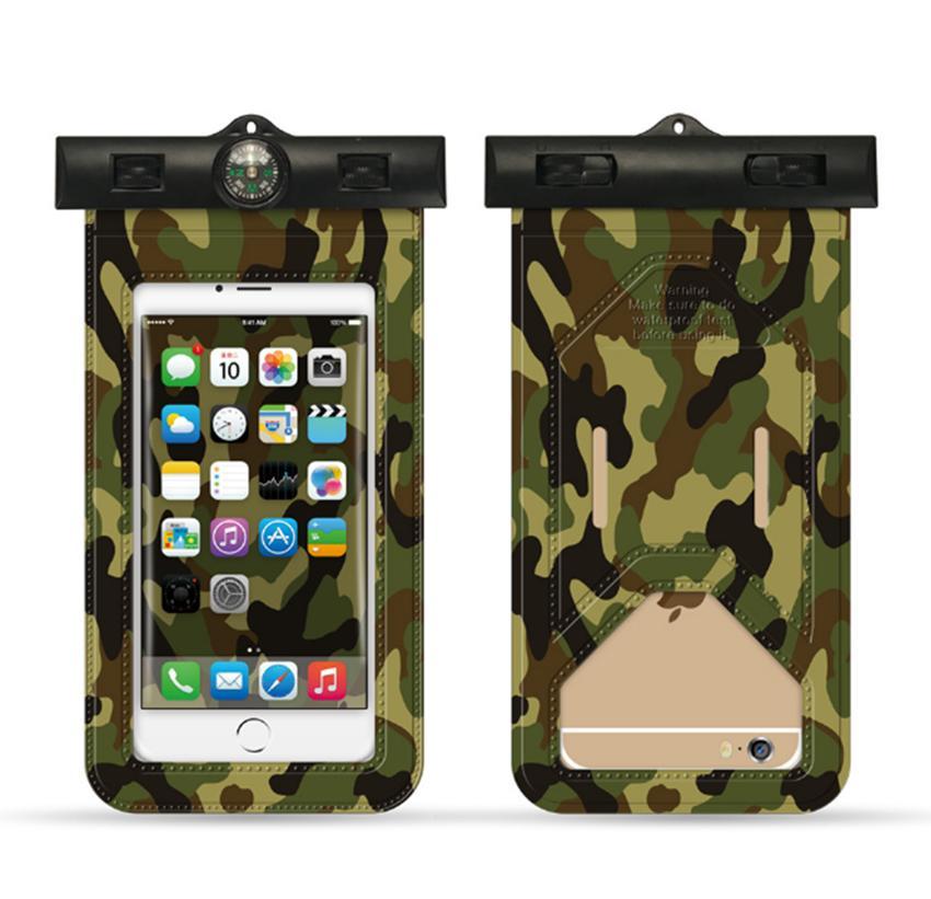 Camuflagem telefone móvel saco à prova d 'água colorido natação e mergulho inteligente Malote À Prova de Poeira tela sensível ao toque de tela do telefone inteligente caso LJJG12