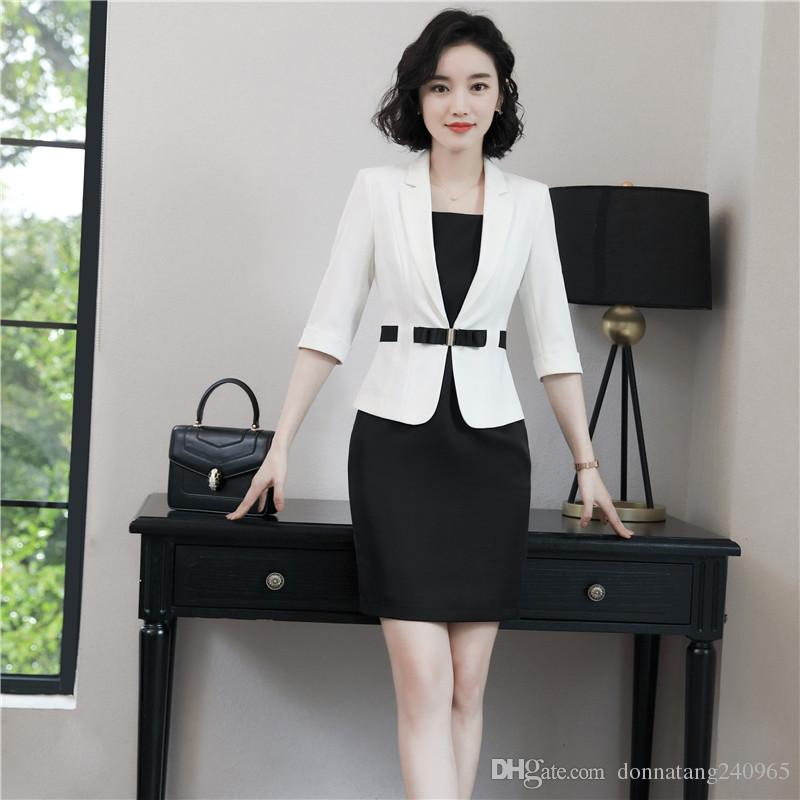 21f9f5d95bbe 2019 Business Women Half Sleeve Blazer +Sleeveless Dress Fashion Elegant Summer  Blazer Dress Suit Office Interview Plus Size Work Wear Set From ...