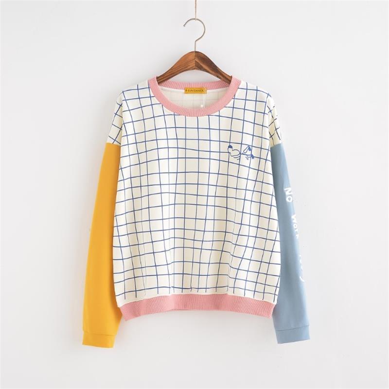 32629054e86 Women's Tunic Japan Harajuku Ulzzang Small Fresh Loose Lattice Block ...