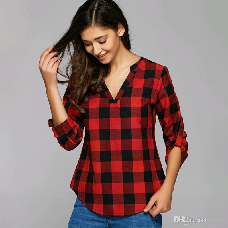8afbb1415b7e Мода красный плед печати длинная блузка женская рубашка зима повседневная  blusas ...