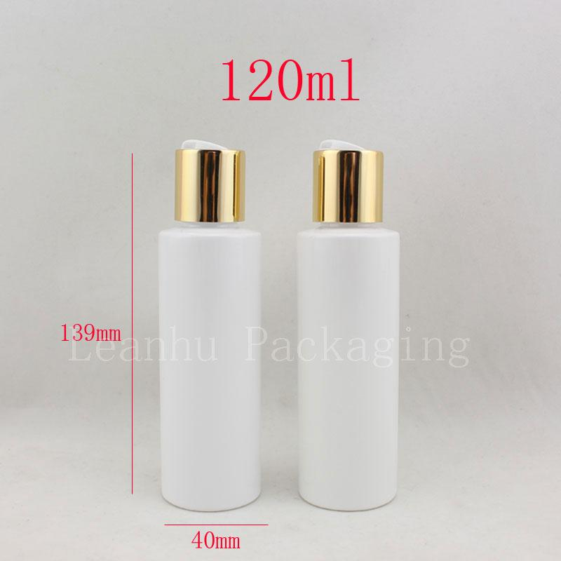 120ml Empty Round White Plastic Shampoo Bottles With Gold Screw Caps 120cc Empty Essential Oils Cosmetic Packaging Shower Gel