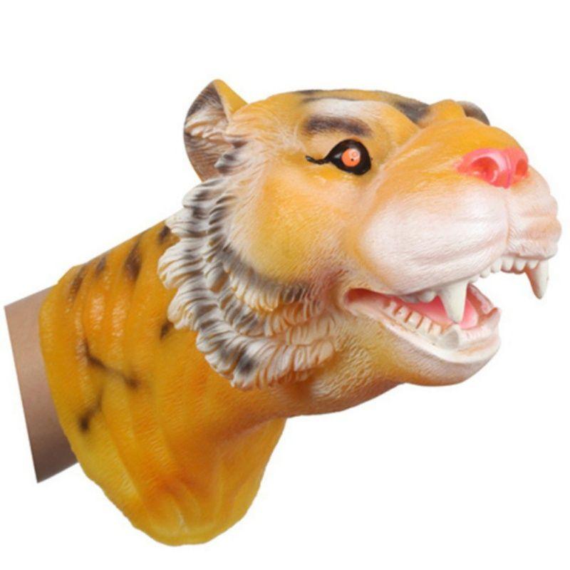 2017 Soft Vinyl PVC Animal Head Figure Dinosaur Tiger Lion Cow & Dog Hand Puppet Gloves Children Toy Model Gift ZM9