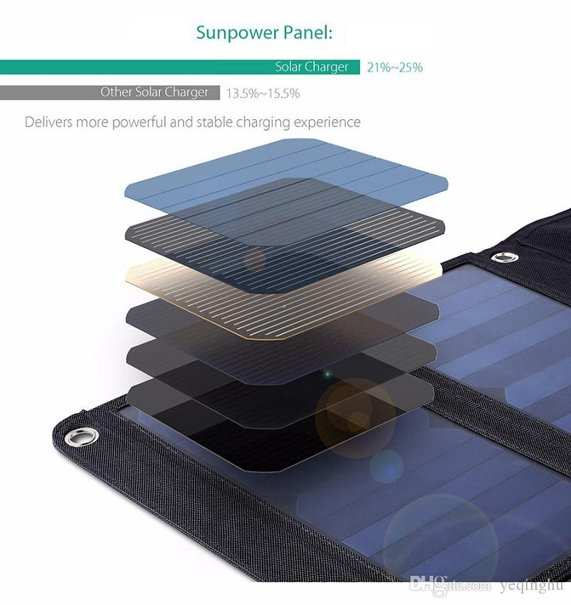 BUHESHUI Foldable 28W Solar Panel Charger Bag Dual USB Port Solar Charger For iPhone/Smart Phone Sunpower Panel High Efficiency