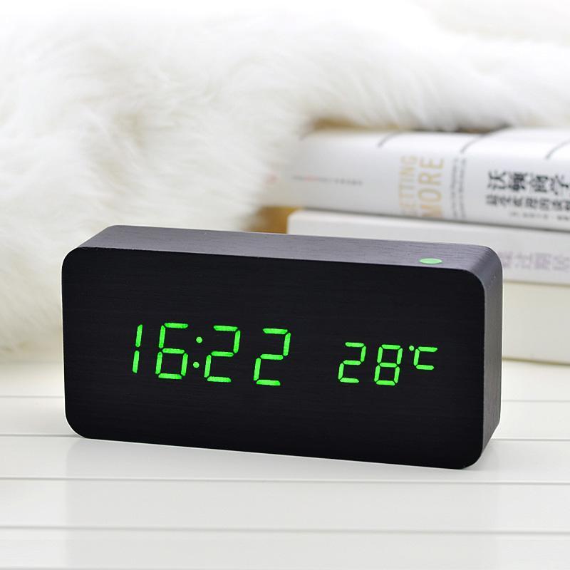 a70dcc97c64 Compre LED De Madeira Relógio Despertador Com Temperatura Sounds Control  Calendar Display LED Electronic Desktop Relógios De Mesa Digital De  Homegarden