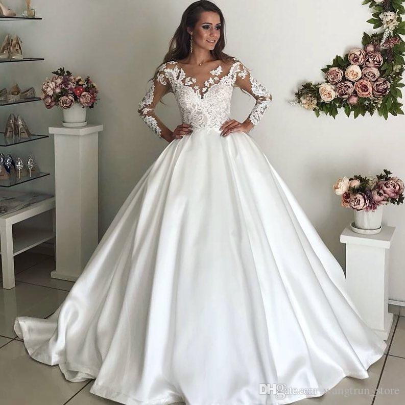Modern Cathedral Train 2017 princess wedding dress vestidos de noiva Appliqued Bodice Satin Bridal Gown For Wedding