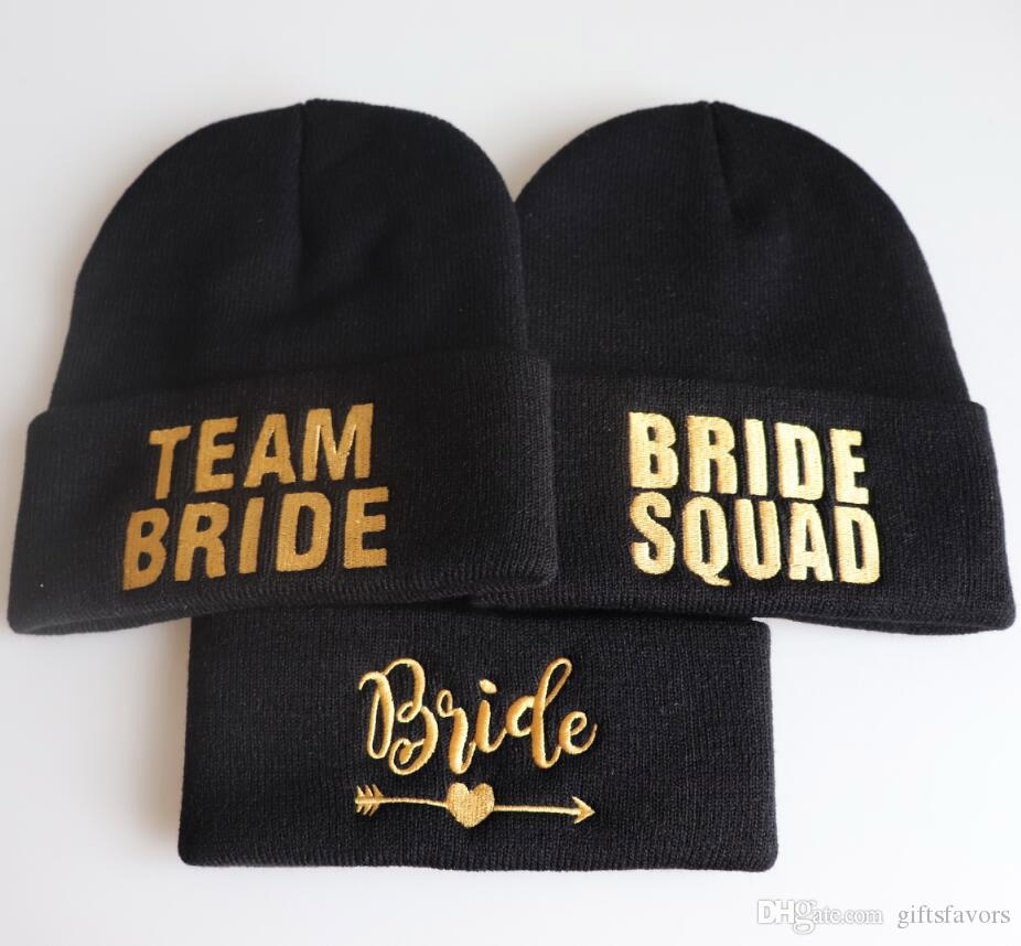 bff1a668c2e70 2019 Wedding Bridesmaid Gift Bachelorette Party Supplies Wholesales  Embroidered TEAM BRIDE SQUDA Tribe Caps Beanie Cap From Giftsfavors
