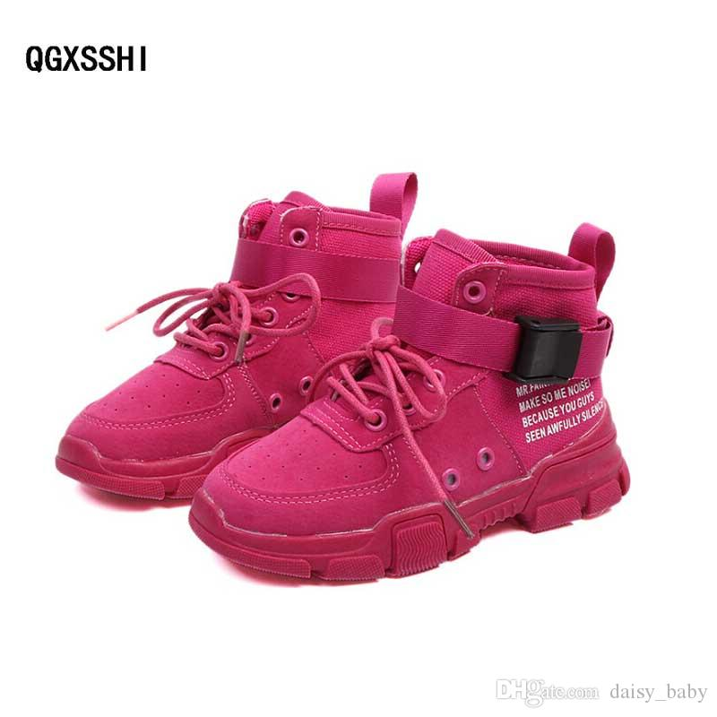 fc6b6bce7 Compre Los Niños De Alta Informal Zapatos Para Niños Niñas Moda Nubuck De  Cuero Zapatillas Respirables Sport Runing Zapatos Niños   7 Otoño 2018 A   18.28 ...