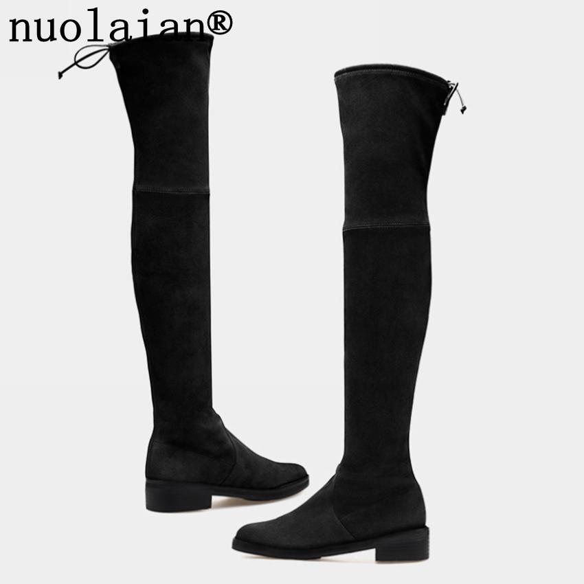 aa921be3f67e Acheter Femmes Noir Plateforme Bottes Faux Daim Cuir Cuisse Botte Haute  Femme Neige Chaussures D hiver Dame Sur Le Genou Bottes Femmes Chaussette  Chaussure ...