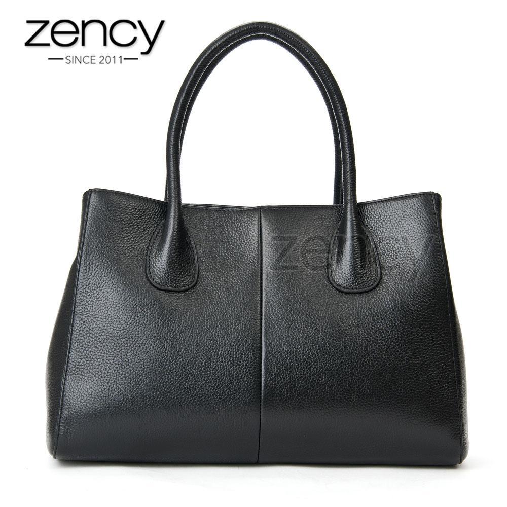 cab9ea1140dc86 Zency 100% Soft Genuine Leather Fashion Women Handbag High Quality Female  Casual Tote Bag Office Ladies Business Purse Beige Y18102504 Weekend Bags  Luxury ...