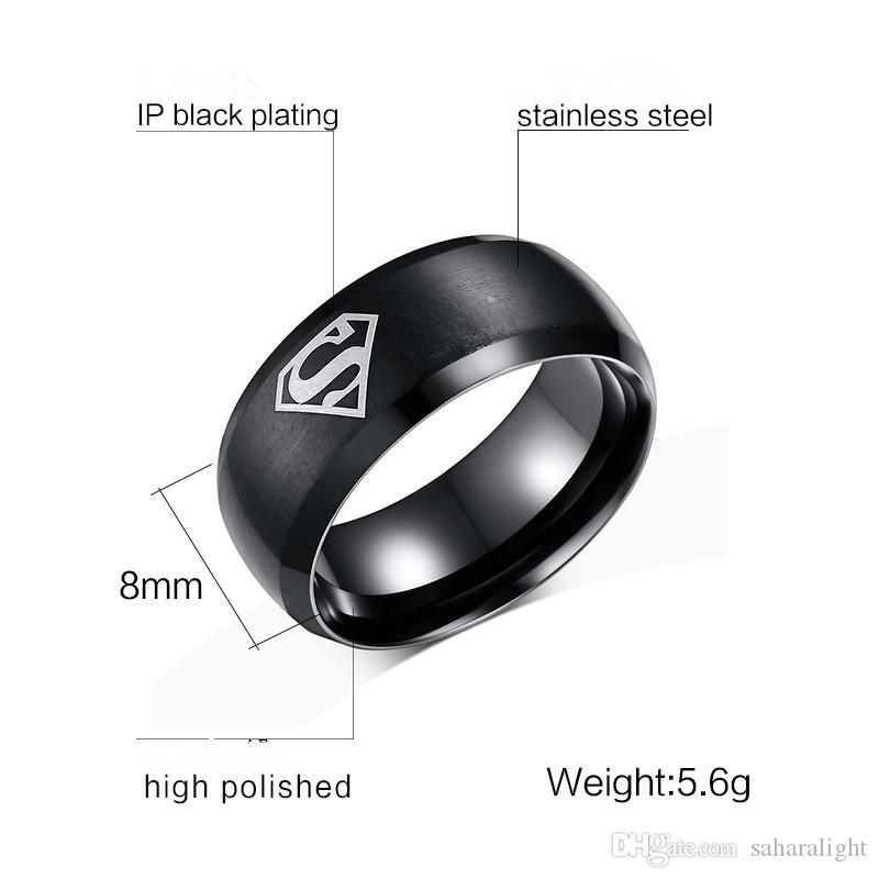 2018 nuevos anillos europeos y americanos de acero caliente de los hombres anillos de acero de titanio para hombres anillo de Superman regalo fresco