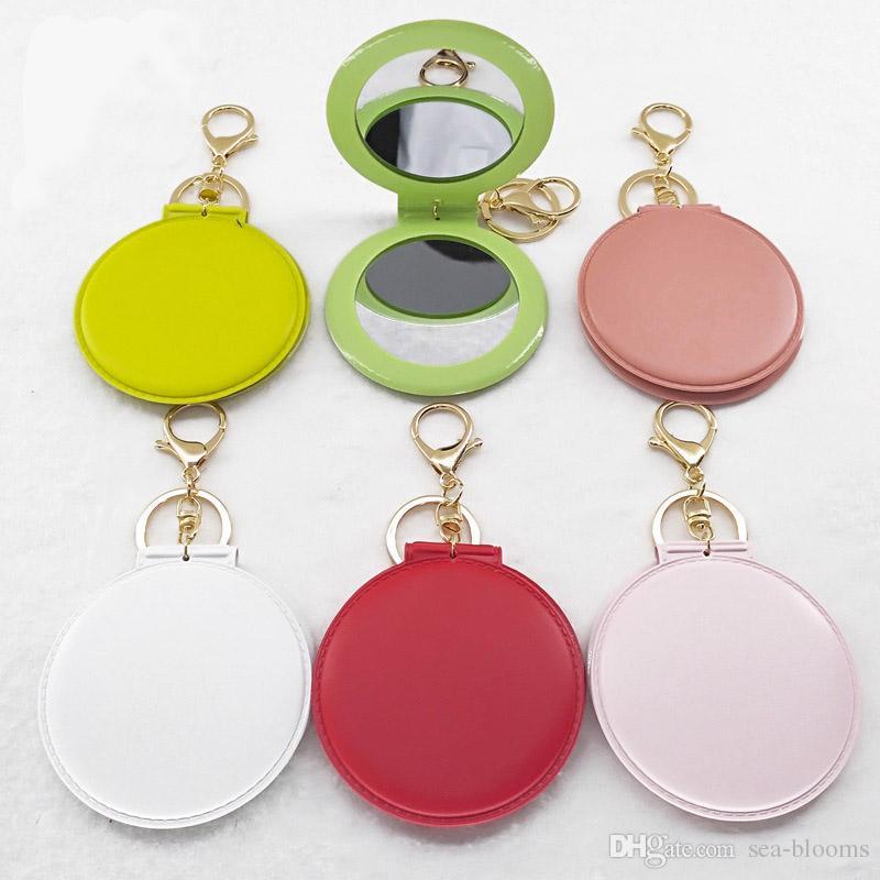 14 Estilos de PVC Multicolor Dobrável Pequeno Espelho Rodada Espelho Chaveiro Ornamentos de Viagem Portátil Dupla-Face Maquiagem Espelho Chaveiro Logotipo Personalizado G786R