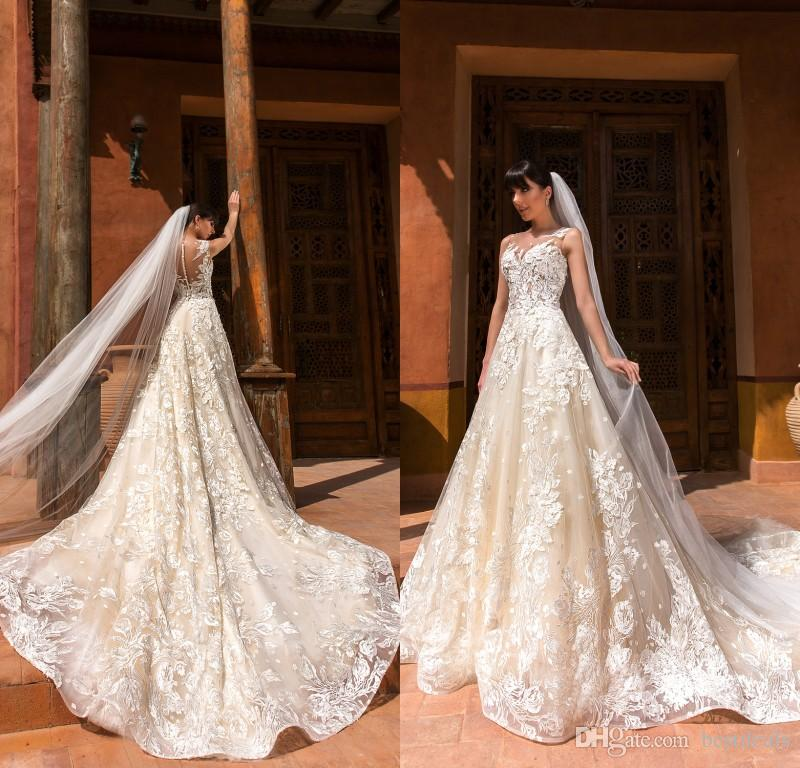 2019 Gorgeous Designer Light Champagne Wedding Dresses V