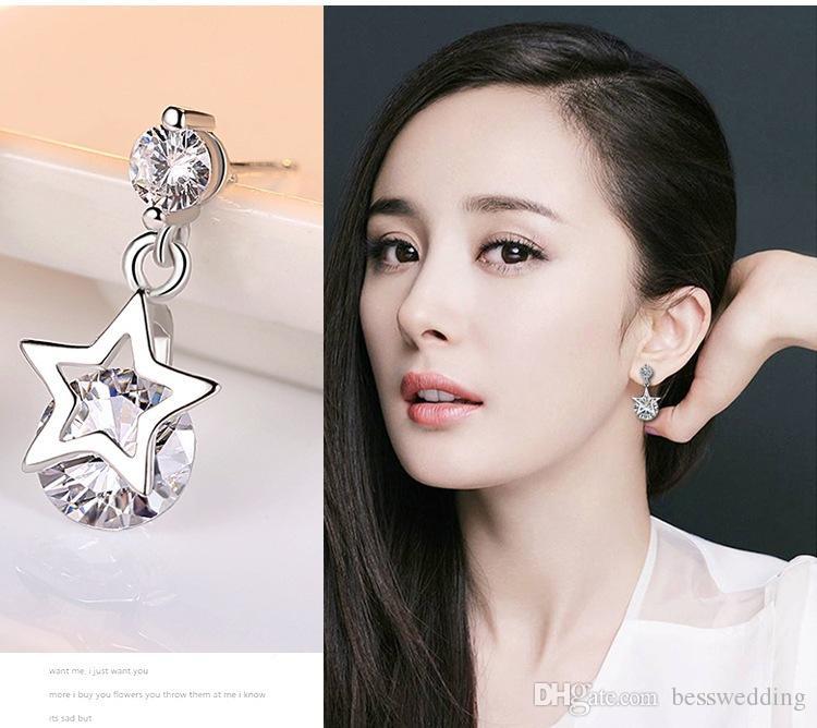 48d76b3c80 Zircon Silver Jewelry Korean Version Of The Fashionable Star Silver  Earrings Sparkle Diamond Set Star Stud Jewelry Lady Earrings