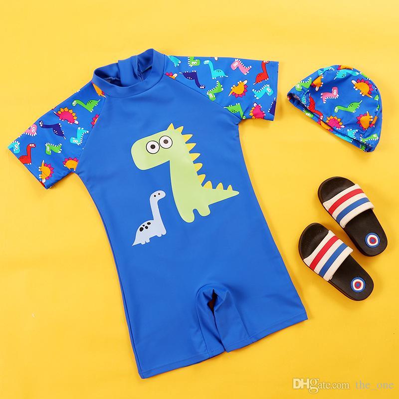 صبي الصيف من قطعة ملابس السباحة طفل رضيع ملابس البوليستر ديناصور المطبوعة قصيرة الأكمام ملابس السباحة مع قبعة السباحة ملابس الأطفال الصيف M109