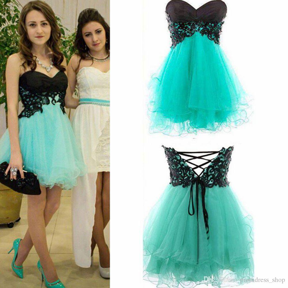 Short Prom Homecoming Dresses Lace Appliques Corset Sweetheart Mini Mint Green Bridesmaid Party Cocktail Gowns 2019 Cheap