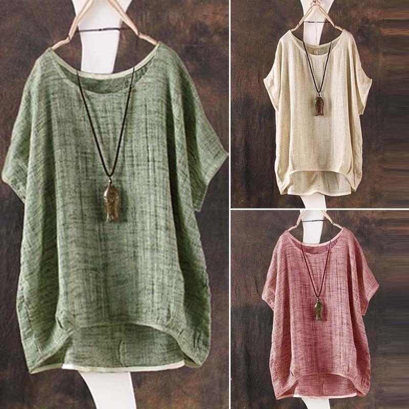 2ce2062f5c2 2019 Casual Womens Summer Cotton Linen Plain Loose Blouse Shirt Jumper  Ladies Girl Batwing Asymmetrical Tops Sundress Clothes Blouses From  Vanilla10