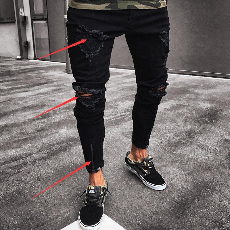 a83442a4a31 2019 Fashion Men s Ripped Skinny Jeans Destroyed Frayed Slim Fit Denim Pant  From Begonier