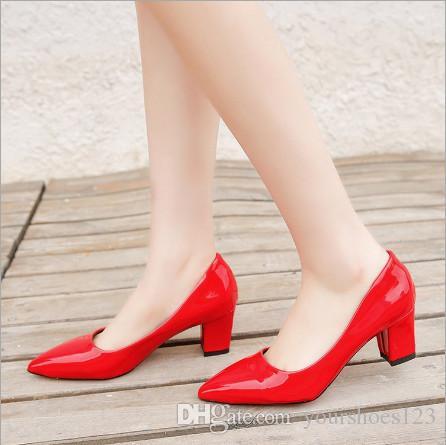 Nuevo Cachorro Blanco Estrecha Rojo Botas Negro Verano Zapatos 2018 Tacón Grueso Trabajo Punta Mujer De Sandalias SMpzUqV
