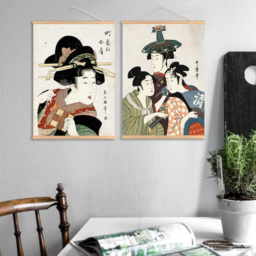 2019 retro japanese style traditional professional ukiyoe pattern wall art paintings canvas print with wooden hanger for home bathroom decoration from