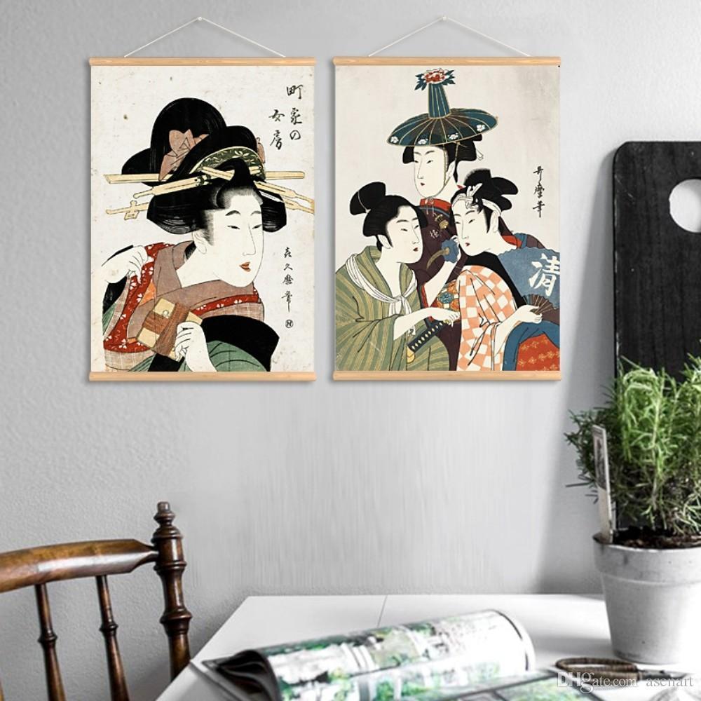Retro Japanischen Stil Traditionellen Professionellen Ukiyoe Muster  Wandkunst Gemälde Leinwanddruck mit Holzbügel für Home Badezimmer Dekoration