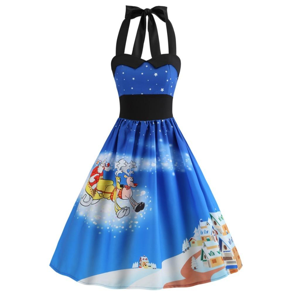 fashion vintage christmas printed women dress elegant sweet halter sleeveless evening party prom swing dresses costumes adult themed costumes adult themed - Vintage Christmas Dress