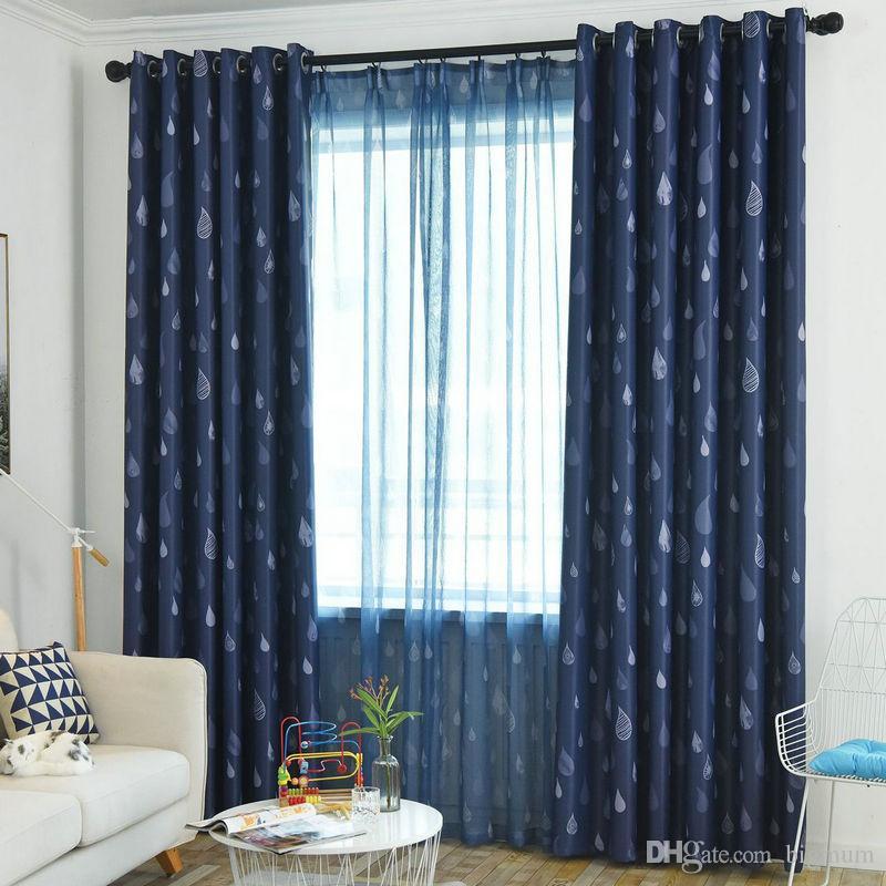Warm Cute Cartoon Raindrop Blackout Curtain for Living Room Home Decor Kids Room Window Blackout Fabric for Bedroom Window Treatment