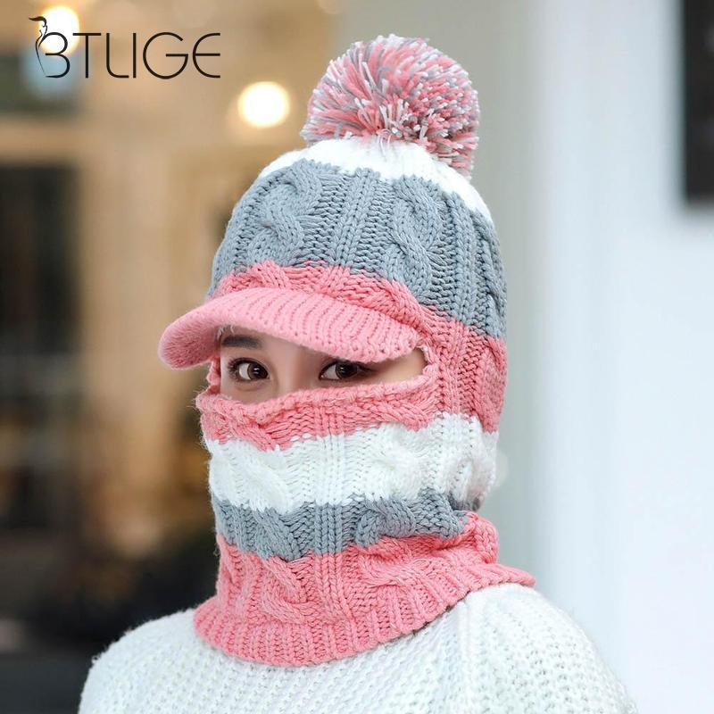 96e037785c0 Women Scarf Winter Cap Mask Collar Face Protection Girls Accessory Bicycle  Scarf Warm Knitted Hat Female Ear Protect Hat Bucket Hats Beanie From  Clintcapela ...