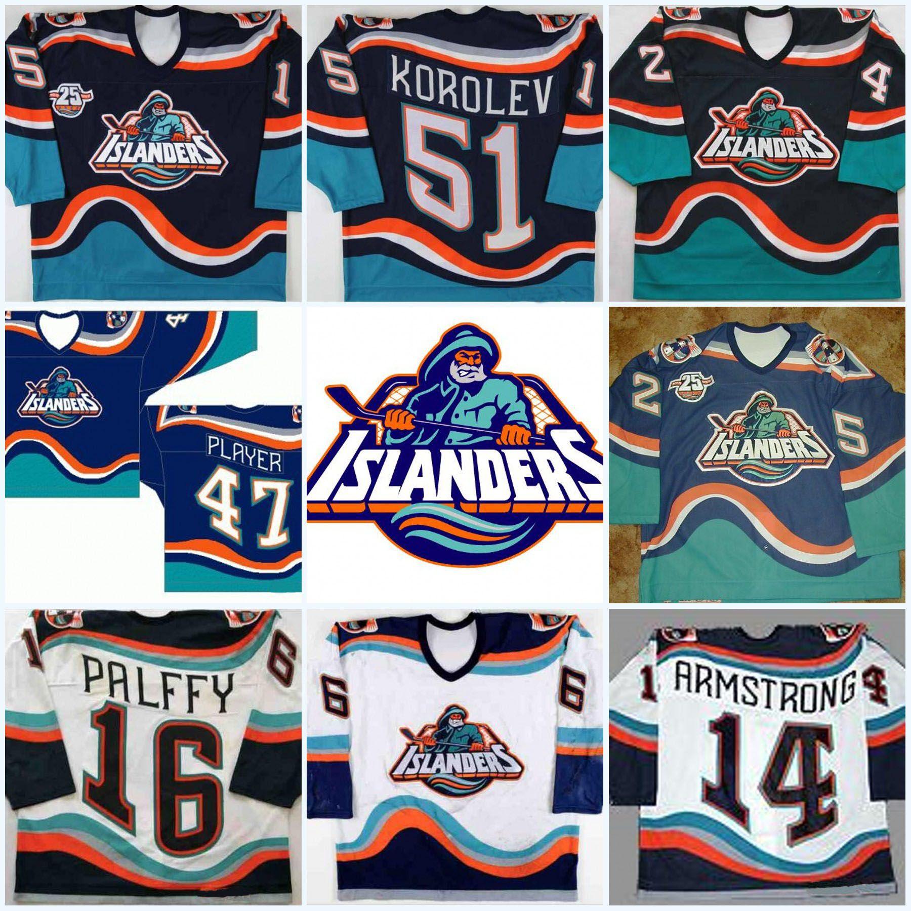 competitive price 47651 771a7 #16 Ziggy Palffy New York Islanders Fisherman Darius Kasparaitis  JohnTavares Korolev Brent Severyn Berard Vintage Hockey Jerseys