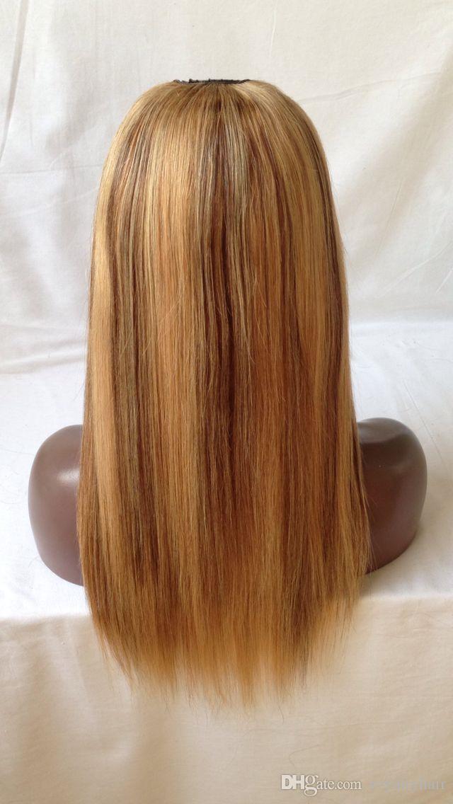 Brazilian Virgin Human Hair U Part Wig 130% Density Brazilian Remy Hair 27# with 30# Straight Upart Wigs For Black Women