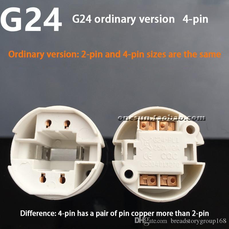 G24 2 Pin 4 Pin Lamp Holder G24 LED Energy Saving lamp Base G24 Aging Light Socket