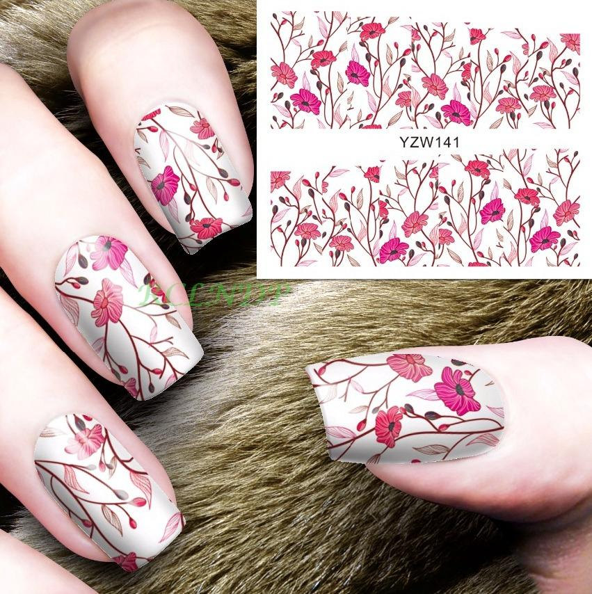 Water Sticker For Nails Art All Decorations Sliders Pink Red Flowers