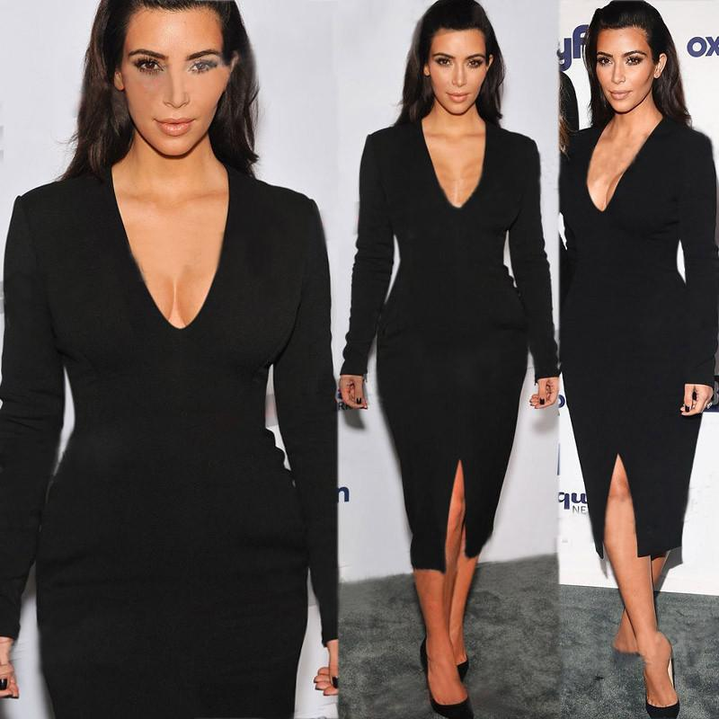 2018 Spring New Kim Kardashian Celebrity Dresses Long Sleeve V-Neck Long Dresses Evening Elegant Robe De Soiree Party Dresses
