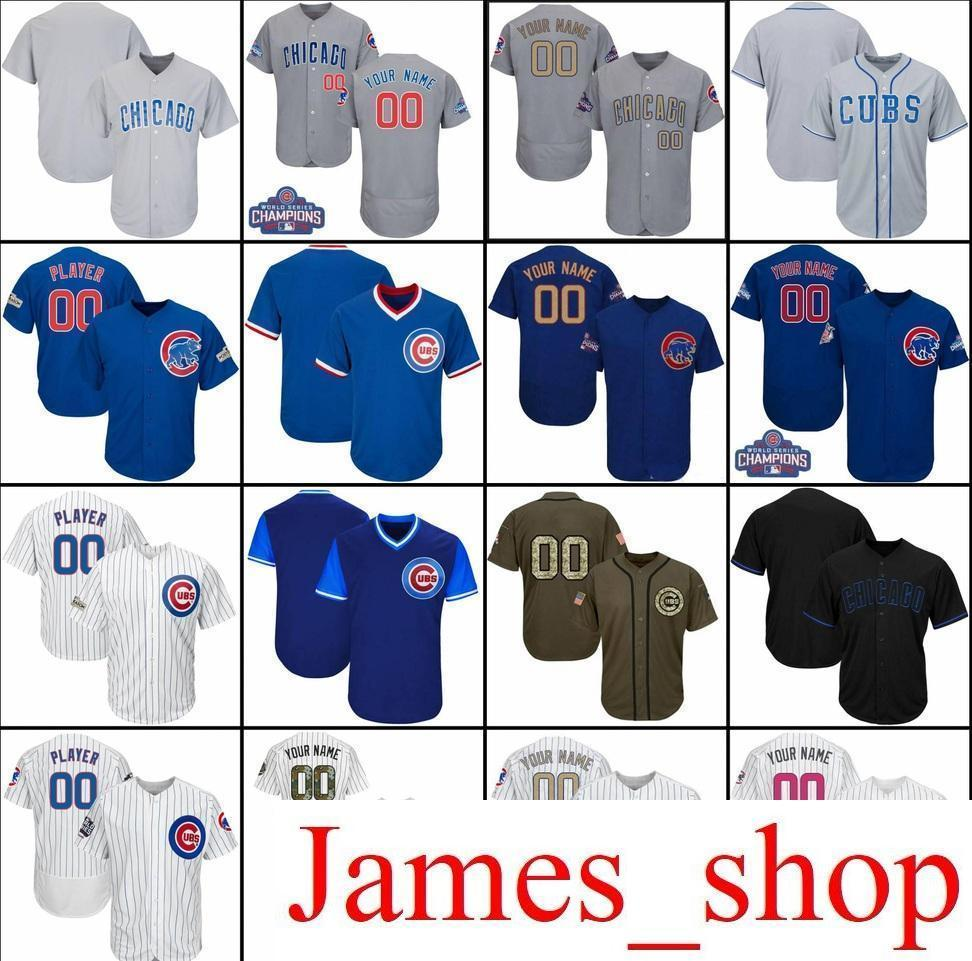 f280f8a58 2019 2019 Custom Men Womens Youth Cubs Baseball Jerseys White Blue Grey  Black Army Green Stitched Any Name Any Number Flex Base Cool Base Jersey  From ...