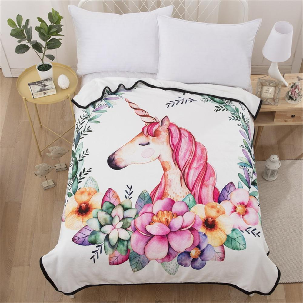 Superieur Cilected Pink Unicorn Blanket For Beds Sofa Cover Floral Super Soft Plush  Throw Blankets Bedding Protector Sheet 150*200cm Electric Blanket Twin Xl  Custom ...