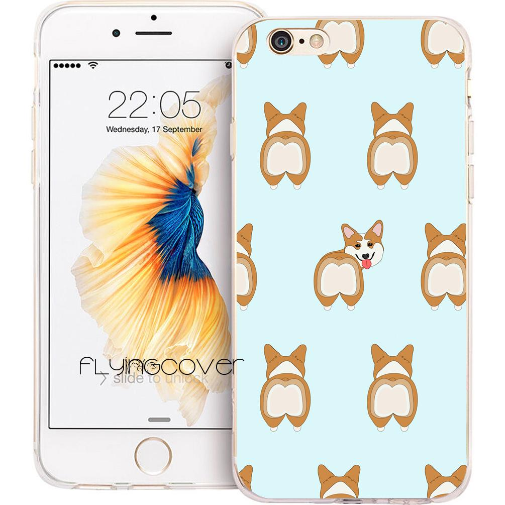Super Cute Corgi Dog Clear Soft TPU Silicone Capa Shell Cases for iPhone 10 X 7 8 Plus 5S 5 SE 6 6S Plus 5C 4S 4 iPod Touch 6 5 Cover.