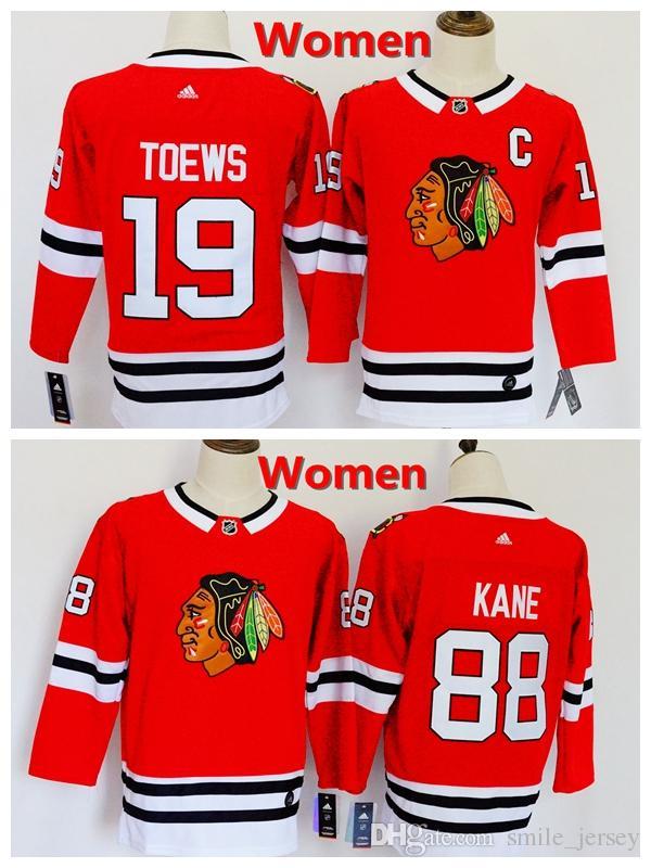 2019 2019 New Women 19 Jonathan Toews Chicago Blackhawks Hockey Jerseys  100% Stitched Embroidery 88 Patrick Kane Red Ice Hockey Women Jersey From  ... e91211c7ca4f8