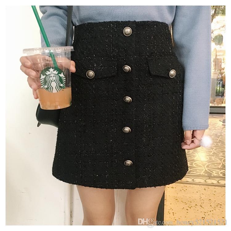 I nuovi bottoni a-line della vita di disegno di alta qualità delle donne rappezzano la gonna corta ispessimento del tweed di lurex della lana più la taglia SML