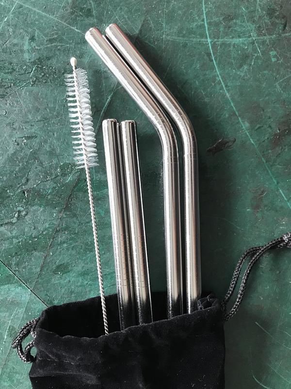 Factory Free Shipping Bag Set 4 straws+1 brush stainless steel straws 5  sets/lot