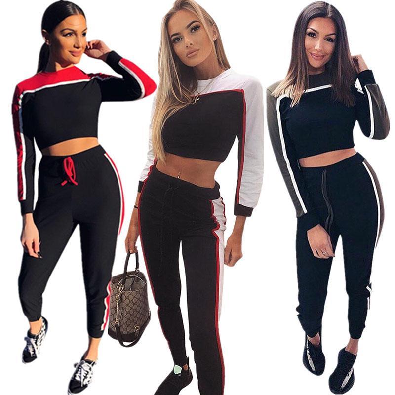 Compre 2018 De Dos Colores De Costura Chándales De Moda Deportiva Conjunto  De Dos Piezas Camiseta Casual Tops Yoga Jogger Set 2 Piezas Trajes Ropa De  Mujer ... 8590cf10677fa
