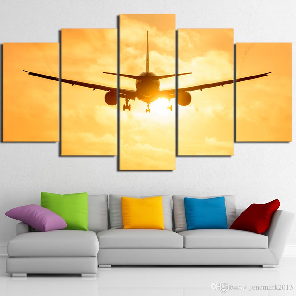 HD Printed Canvas Art Airplane in Sunset Canvas Painting Wall Pictures for Living Room Home Decor CU-2998C