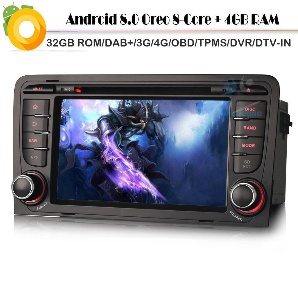 Octa Core 4G RAM 32GB ROM Android 8 0 DAB+ Car stereo for A3 S3 RS3 RNSE-P  Sat Nav WiFi 4G Radio Car GPS Navigation player