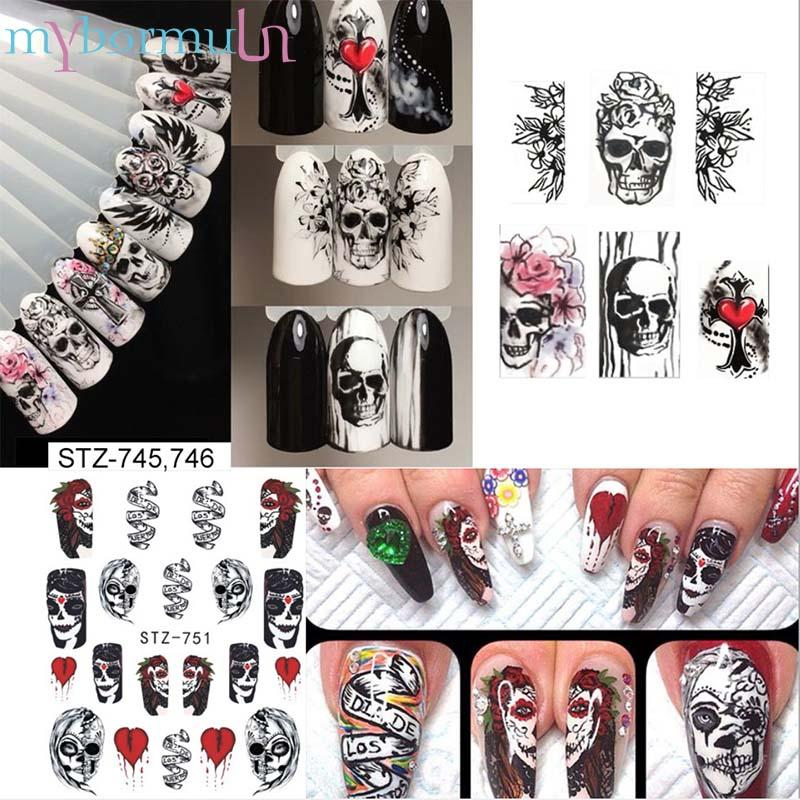 25 Sheets Halloween Design Nail Art Stickers Sets Black White Skull