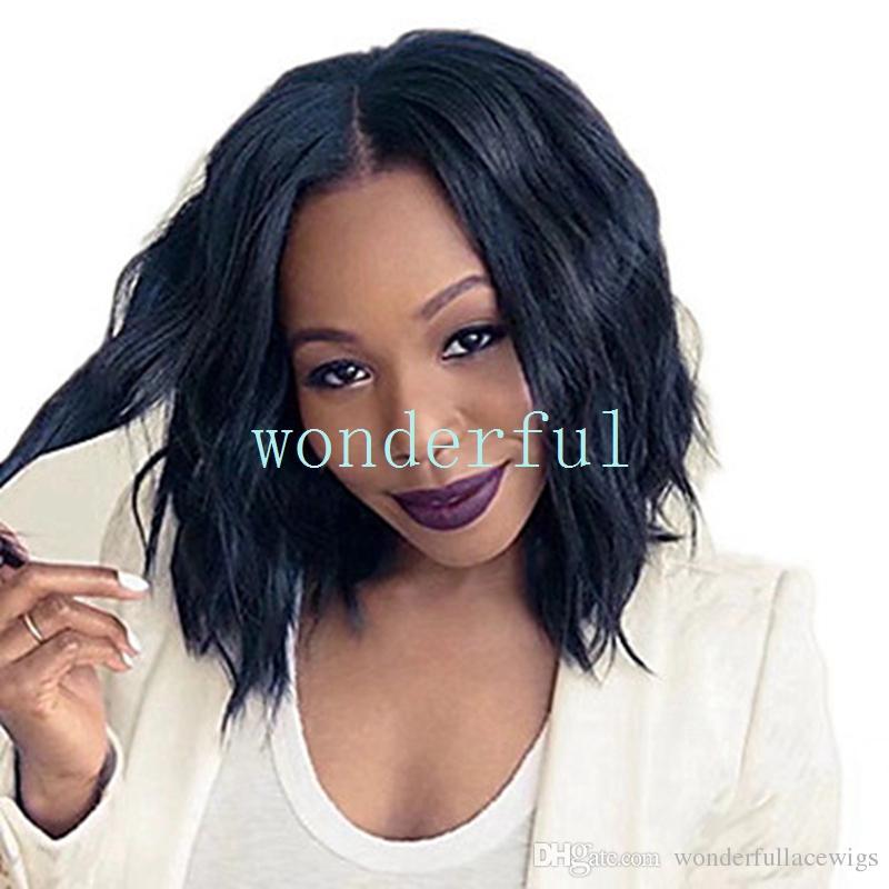Партийные парики черный синтетический короткие волнистые Боб парики женские термостойкие волокна