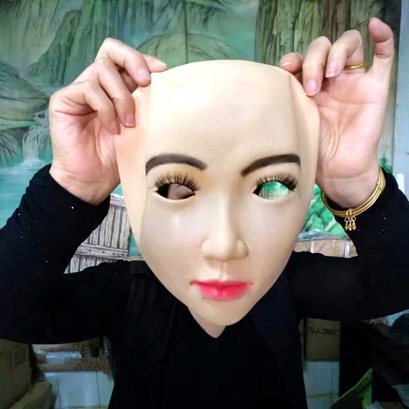 Realistic Human Skin Face Mask Disguise Self Masks with False eyelashes Latex Horror Scary Mask halloween mascaras maske silicone crossdress