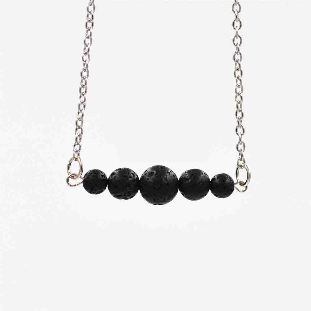 nuova natura pietra lavica nera dell'olio essenziale del profumo della collana di diffusore collana Bar Yoga Aromaterapia Collare