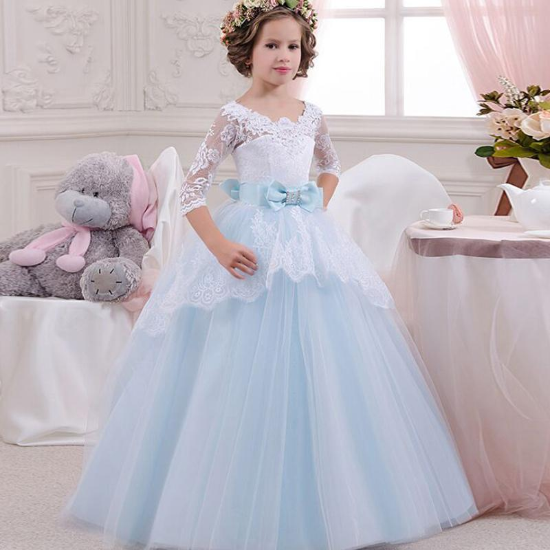 2018 Long Wedding Dresses For Children Clothes Lace Sleeve Flower ...